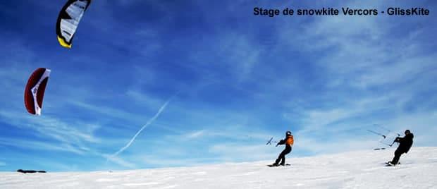 Ecole et stage de snowkite avec GlissKite Vercors