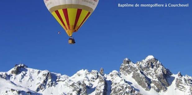 Vol en montgolfière au dessus des montagnes de Courchevel