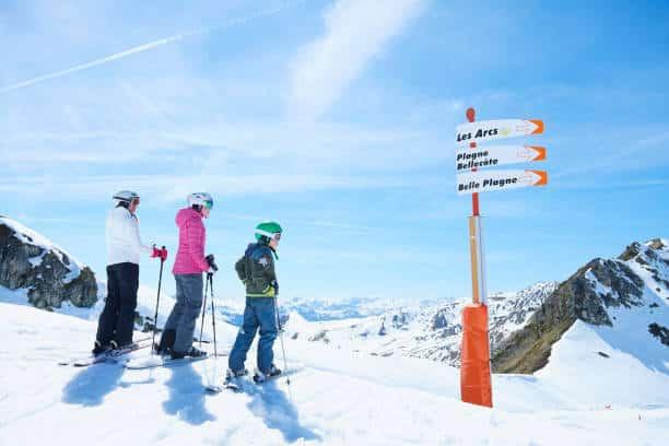 Trois skieurs qui regardent des panneaux d'indication vers différents domaines skiables